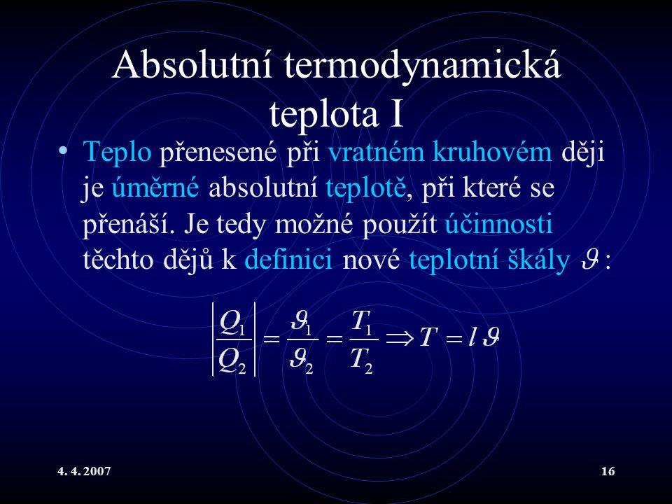 Absolutní termodynamická teplota I