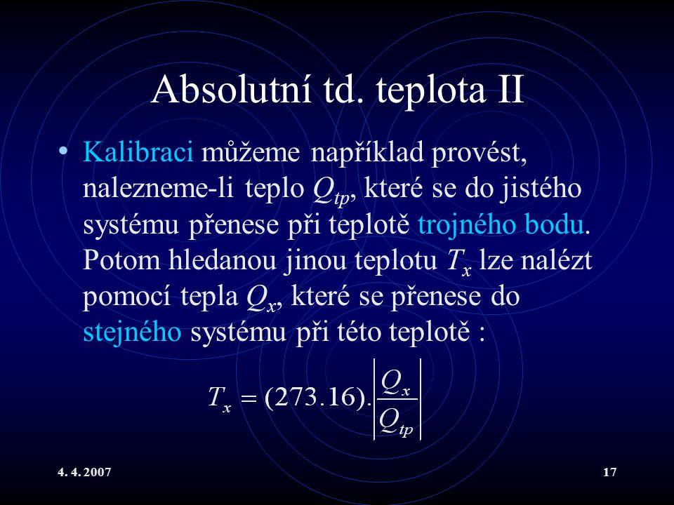 Absolutní td. teplota II