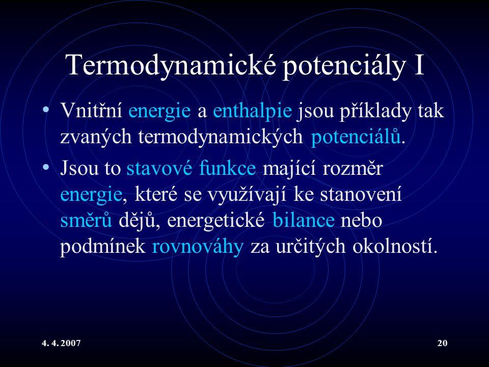 Termodynamické potenciály I
