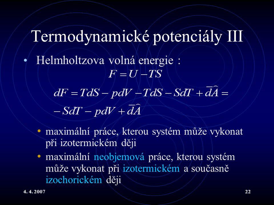 Termodynamické potenciály III