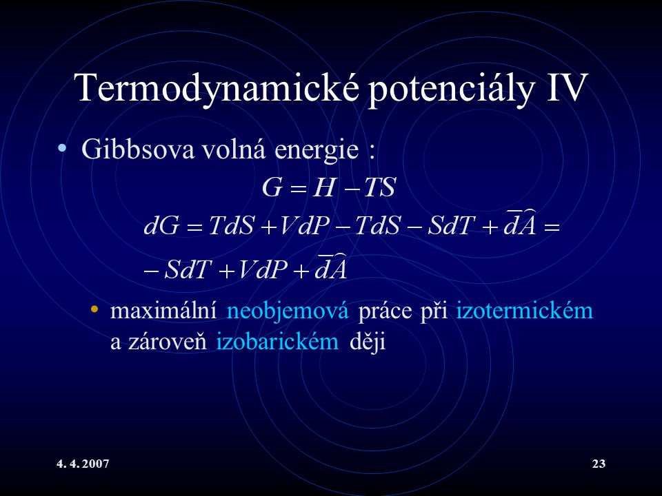 Termodynamické potenciály IV