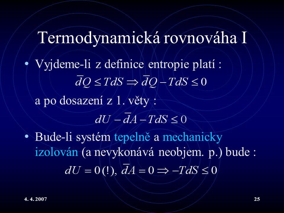 Termodynamická rovnováha I
