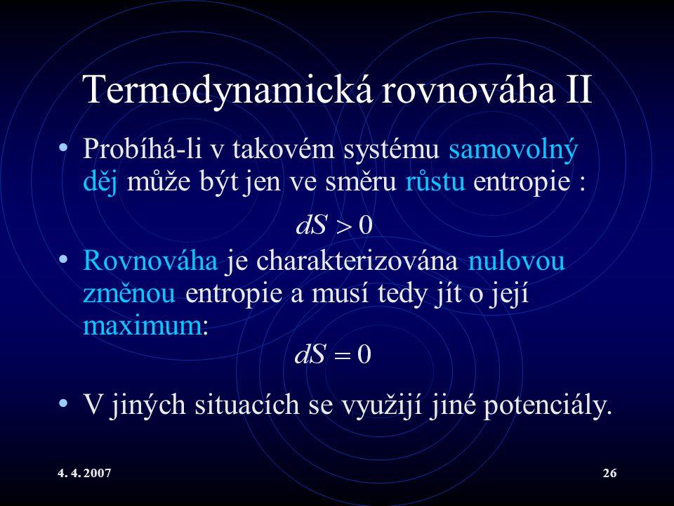 Termodynamická rovnováha II