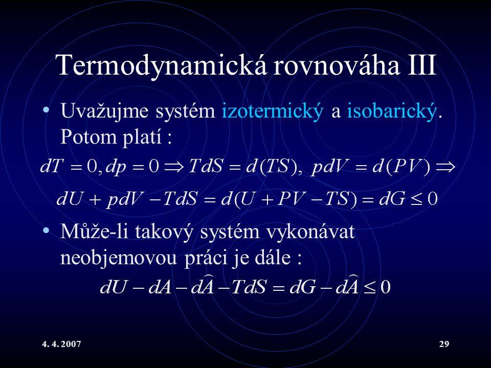 Termodynamická rovnováha III
