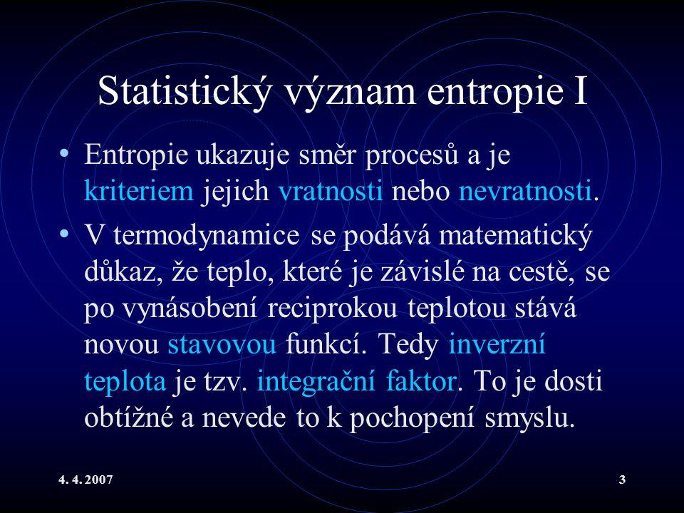 Statistický význam entropie I