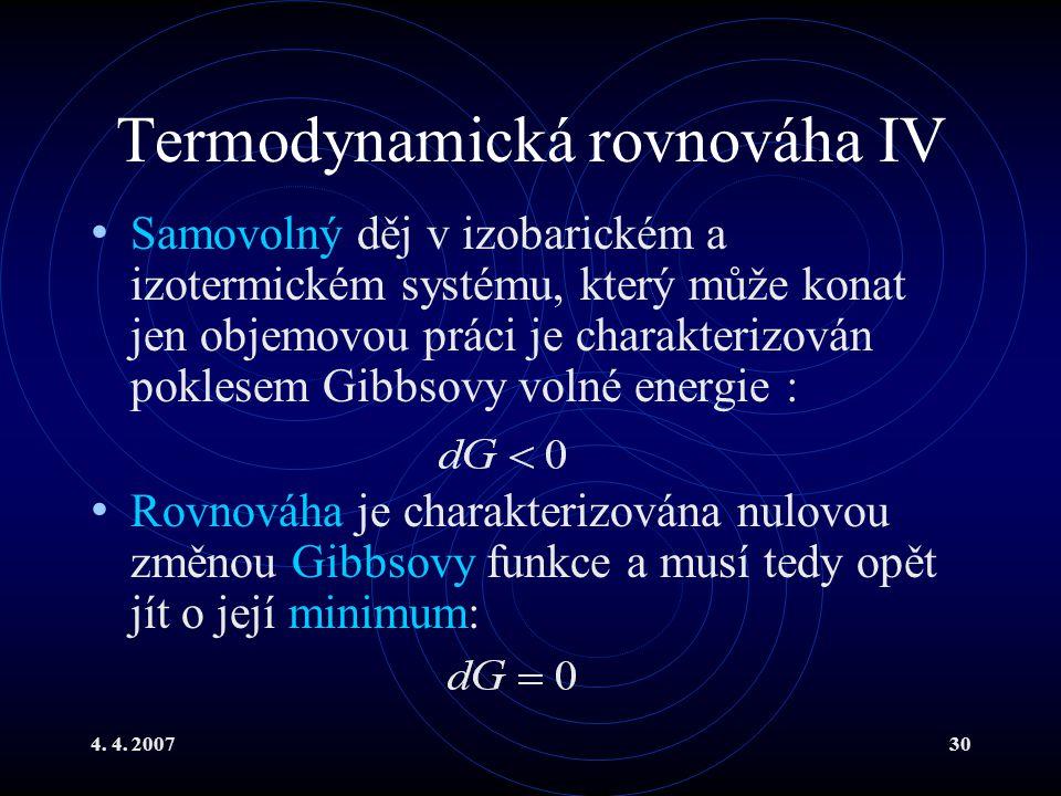 Termodynamická rovnováha IV
