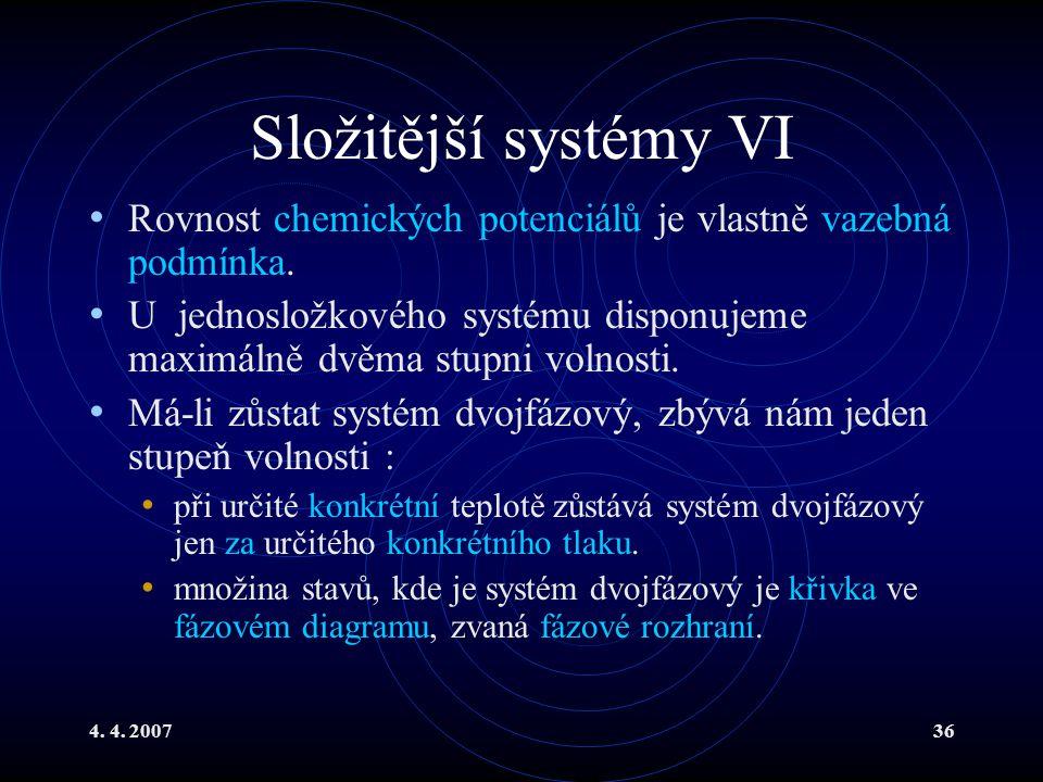 Složitější systémy VI Rovnost chemických potenciálů je vlastně vazebná podmínka.