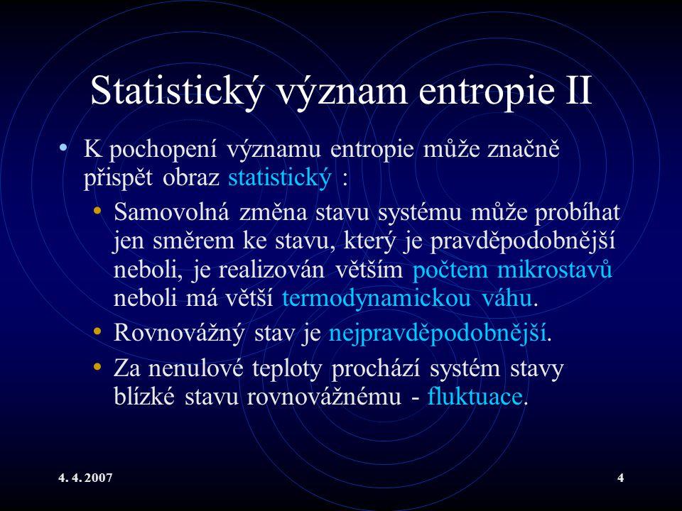 Statistický význam entropie II