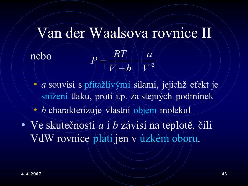 Van der Waalsova rovnice II