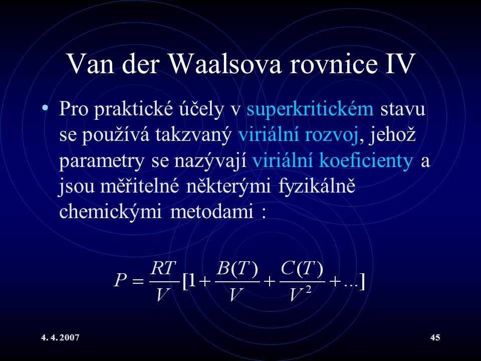 Van der Waalsova rovnice IV