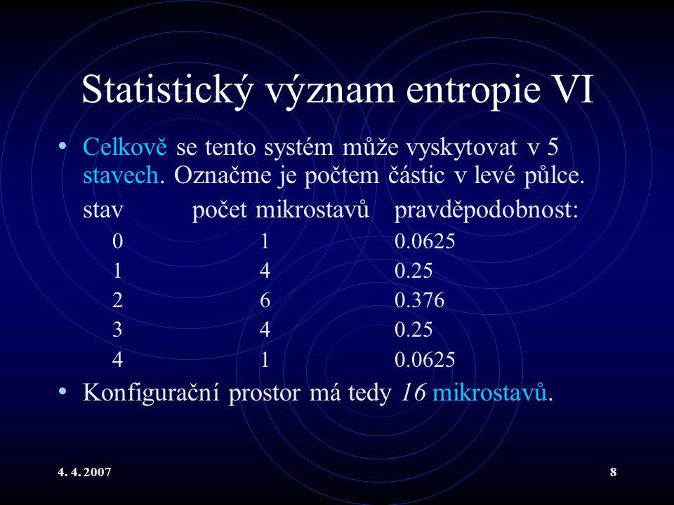Statistický význam entropie VI
