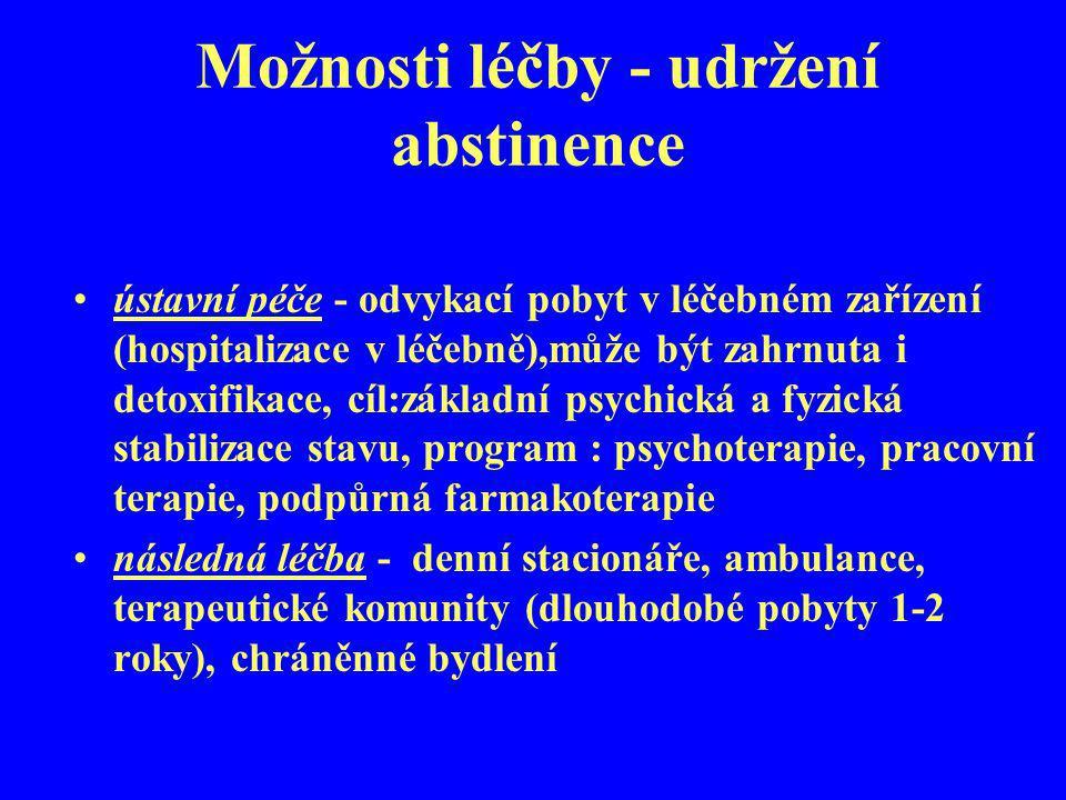 Možnosti léčby - udržení abstinence
