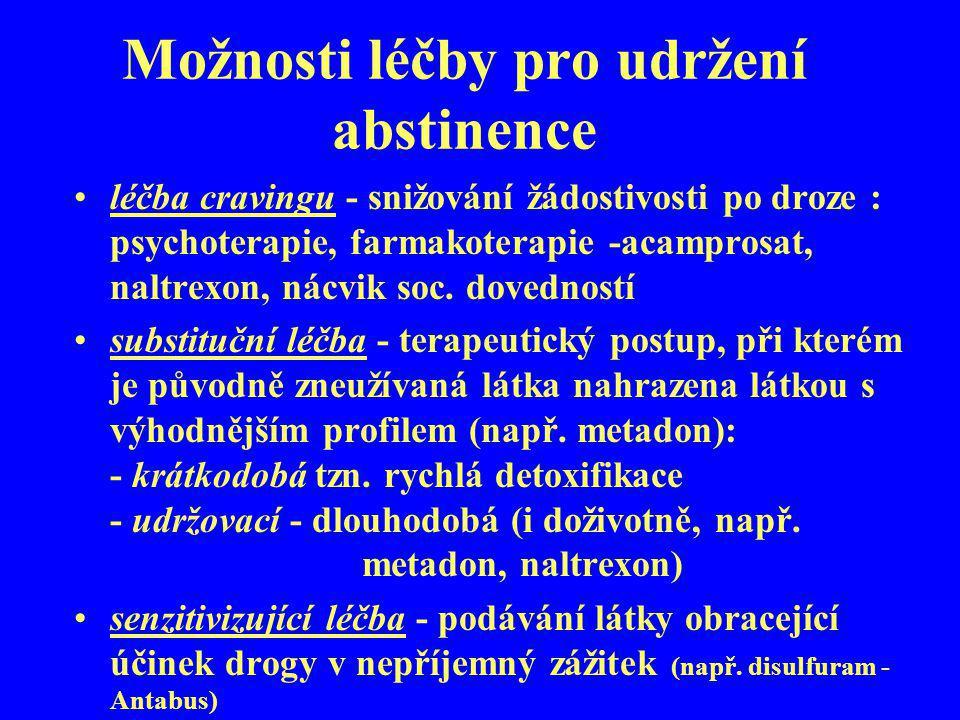 Možnosti léčby pro udržení abstinence