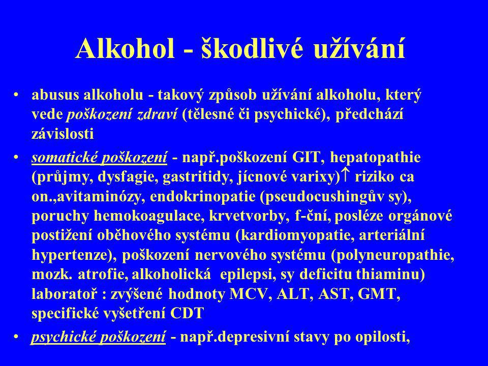 Alkohol - škodlivé užívání