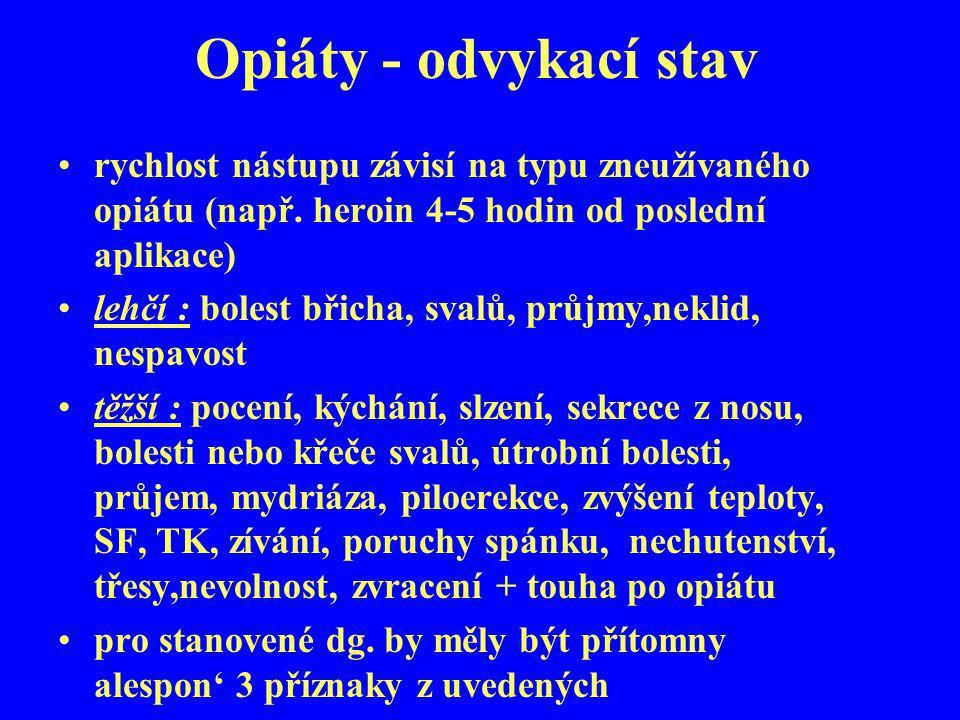 Opiáty - odvykací stav rychlost nástupu závisí na typu zneužívaného opiátu (např. heroin 4-5 hodin od poslední aplikace)