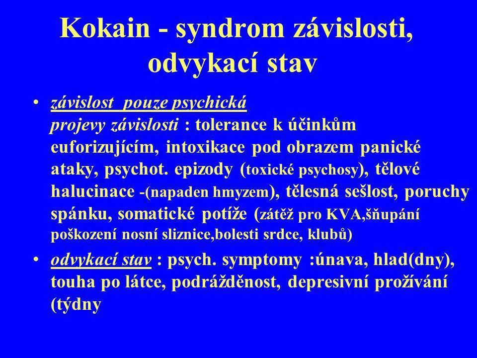 Kokain - syndrom závislosti, odvykací stav