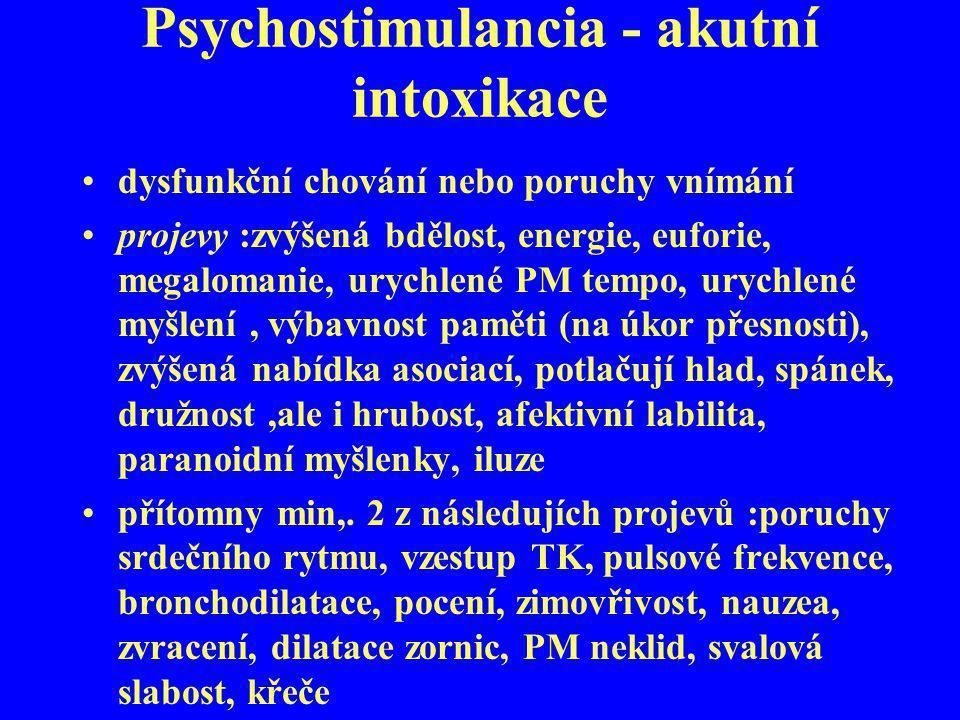 Psychostimulancia - akutní intoxikace