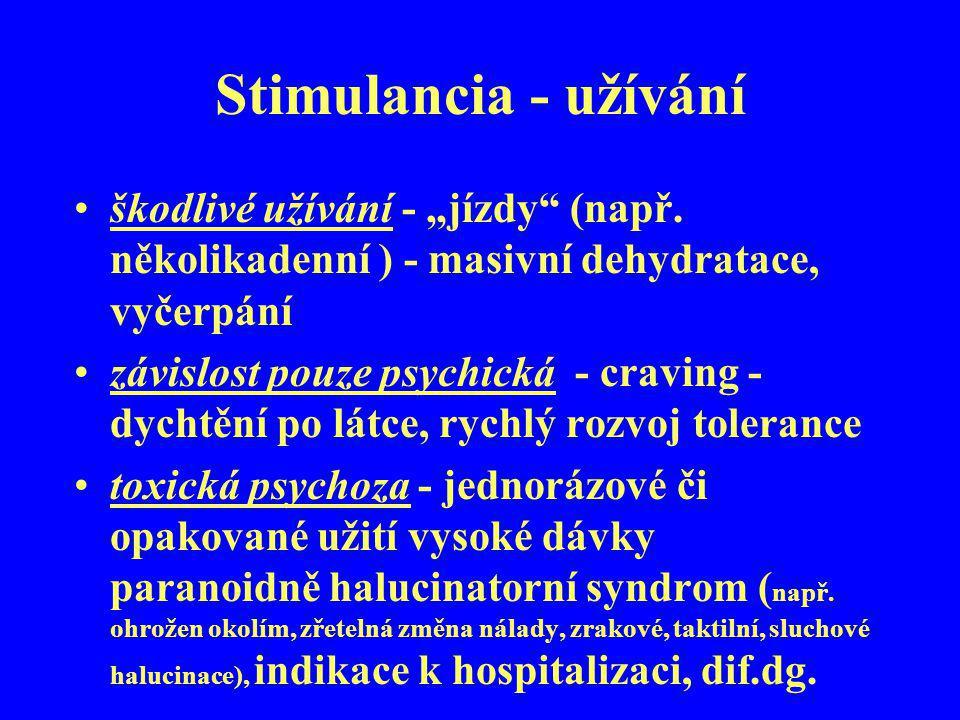 """Stimulancia - užívání škodlivé užívání - """"jízdy (např. několikadenní ) - masivní dehydratace, vyčerpání."""