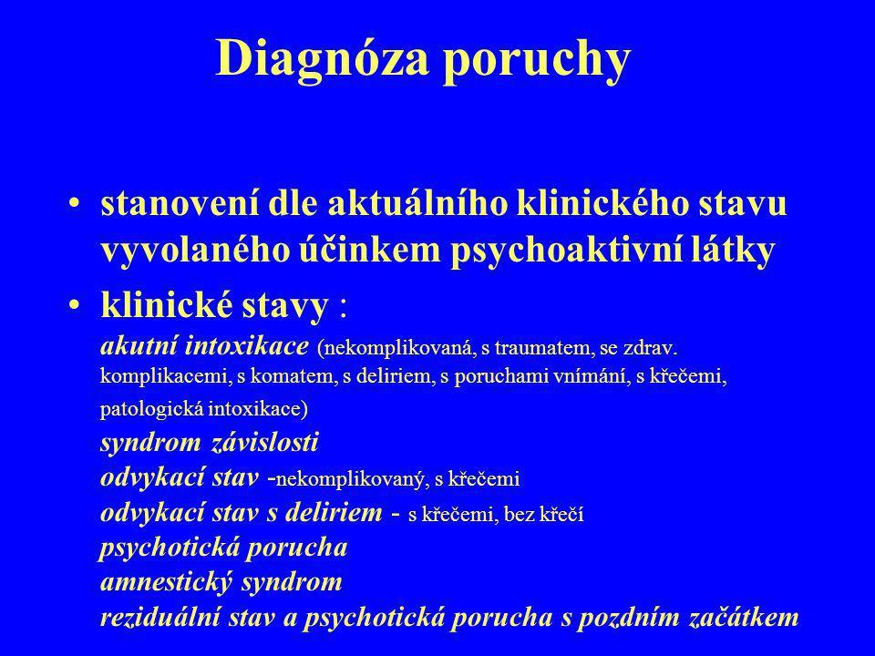 Diagnóza poruchy stanovení dle aktuálního klinického stavu vyvolaného účinkem psychoaktivní látky.