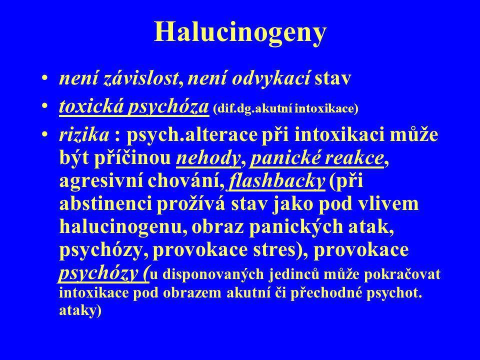 Halucinogeny není závislost, není odvykací stav