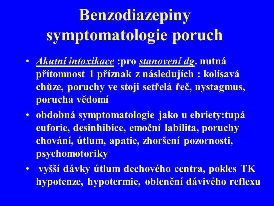 Benzodiazepiny symptomatologie poruch
