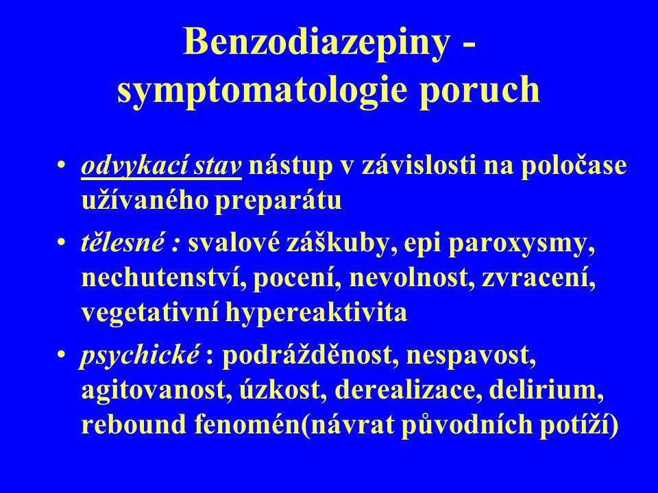 Benzodiazepiny - symptomatologie poruch