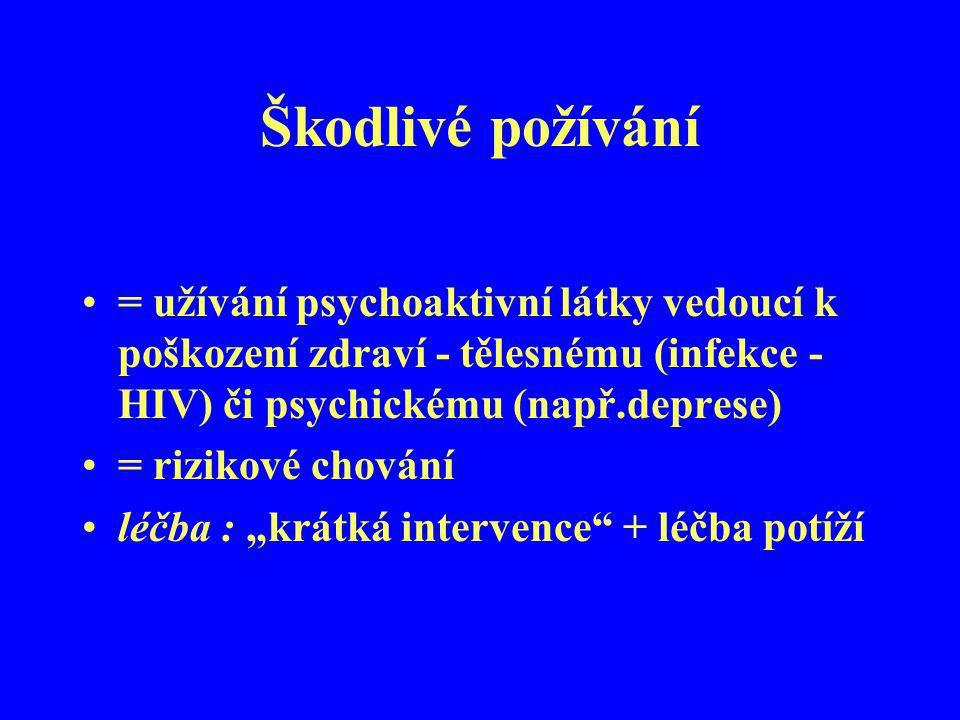 Škodlivé požívání = užívání psychoaktivní látky vedoucí k poškození zdraví - tělesnému (infekce - HIV) či psychickému (např.deprese)