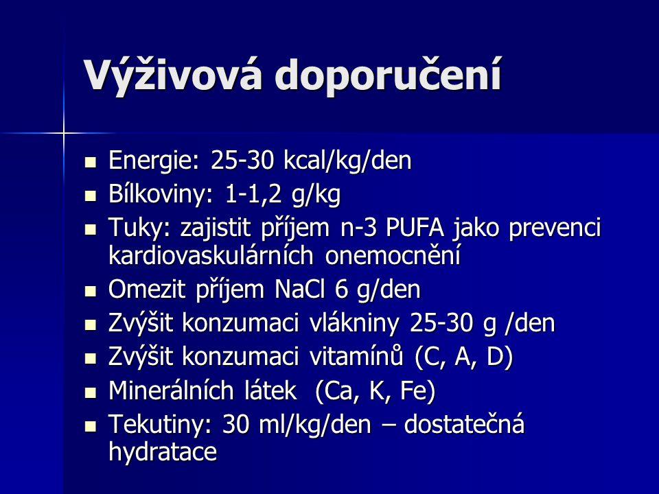 Výživová doporučení Energie: 25-30 kcal/kg/den Bílkoviny: 1-1,2 g/kg