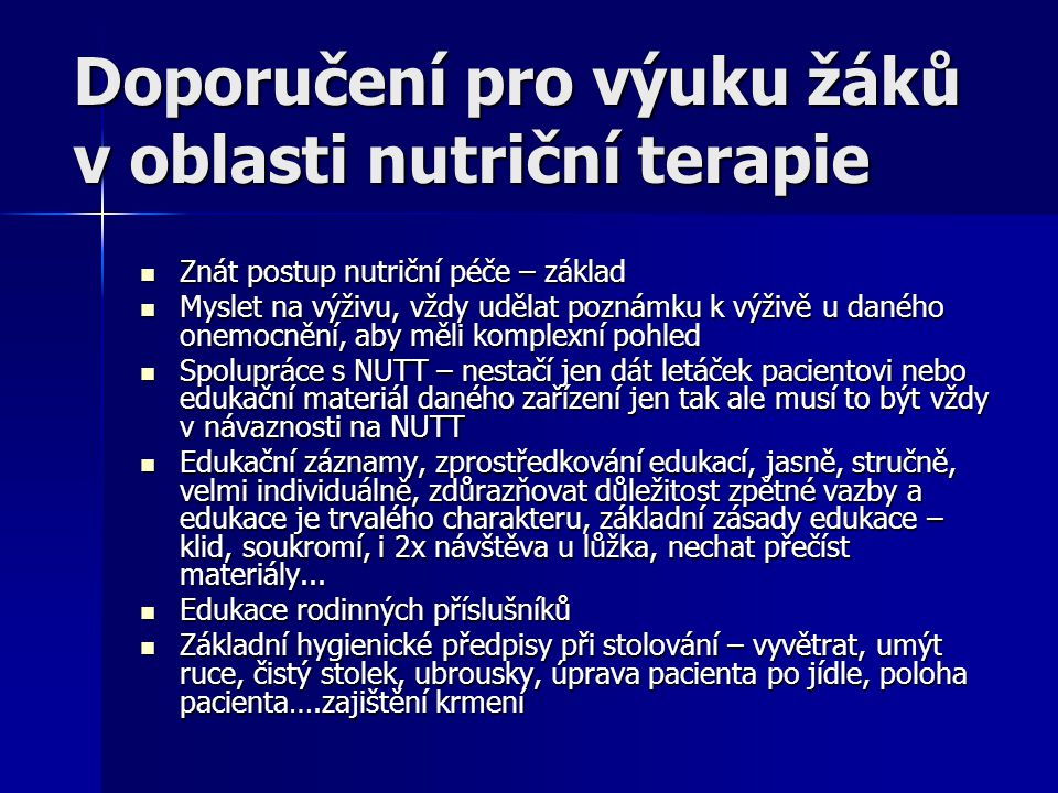 Doporučení pro výuku žáků v oblasti nutriční terapie