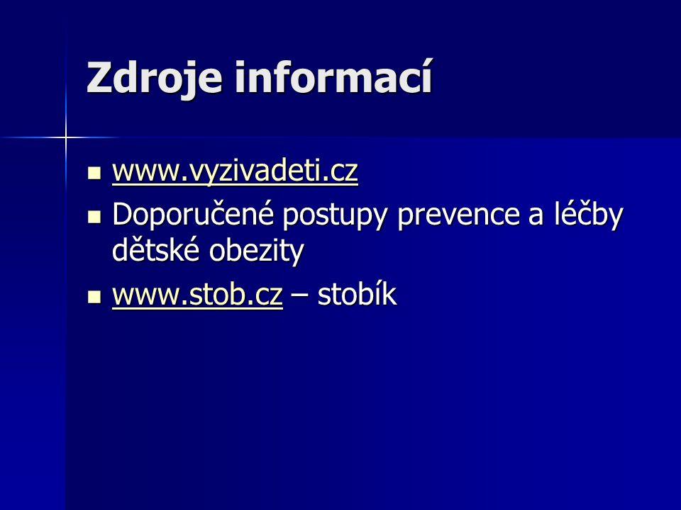Zdroje informací www.vyzivadeti.cz