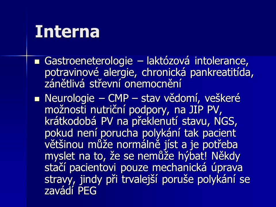 Interna Gastroeneterologie – laktózová intolerance, potravinové alergie, chronická pankreatitída, zánětlivá střevní onemocnění.
