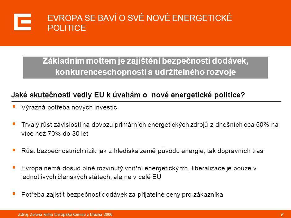 PLATNÁ STÁTNÍ ENERGETICKÁ KONCEPCE ČR V SOBĚ JIŽ PRAKTICKY ZAHRNUJE VŠECHNY ATRIBUTY NAVRŽENÉ V NOVÉ ENERGETICKÉ POLITICE PRO EVROPU