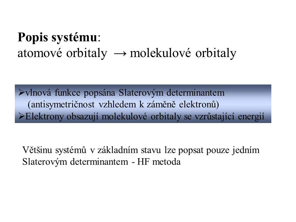 atomové orbitaly → molekulové orbitaly