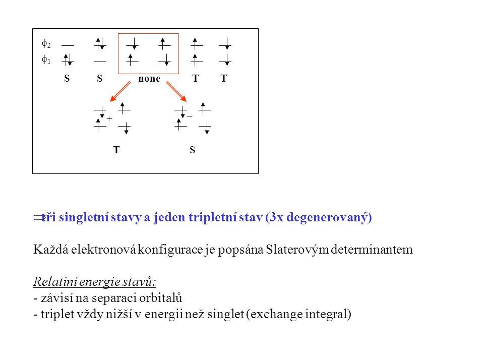 tři singletní stavy a jeden tripletní stav (3x degenerovaný)