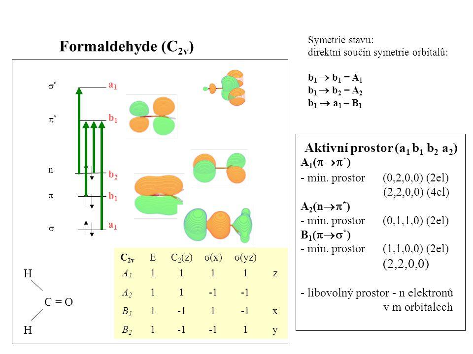 Formaldehyde (C2v) Aktivní prostor (a1 b1 b2 a2) (2,2,0,0) A1(*)