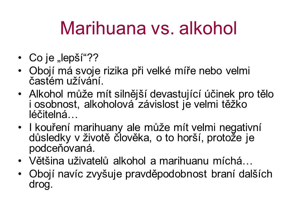 """Marihuana vs. alkohol Co je """"lepší"""