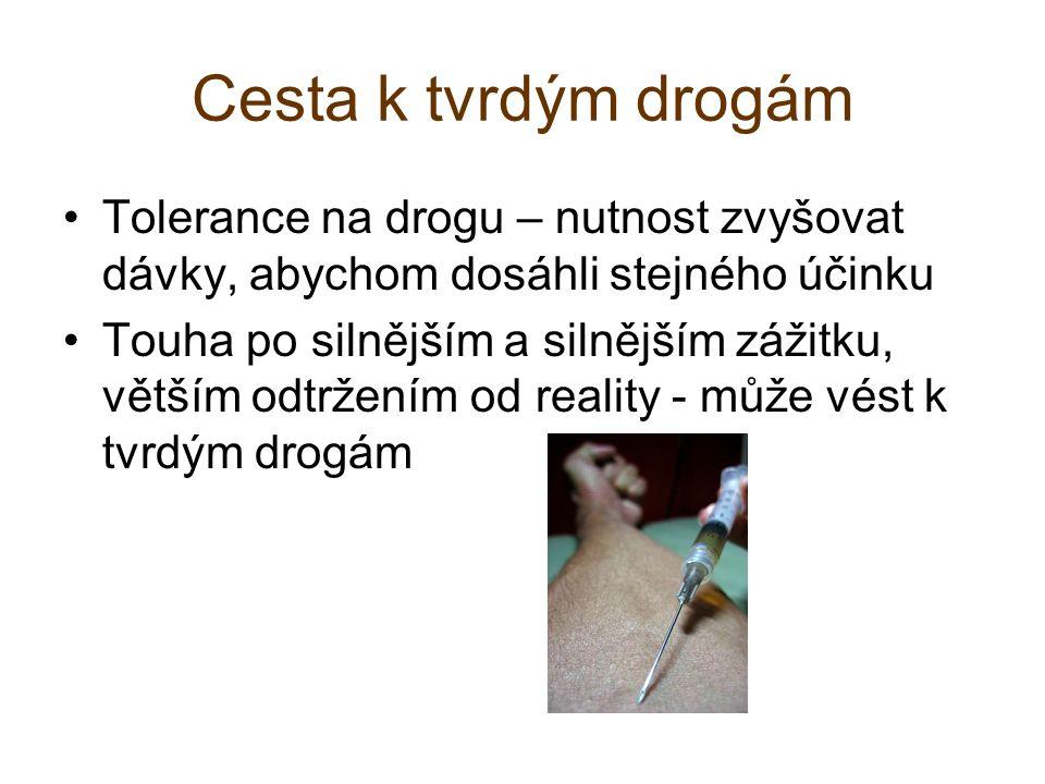 Cesta k tvrdým drogám Tolerance na drogu – nutnost zvyšovat dávky, abychom dosáhli stejného účinku.