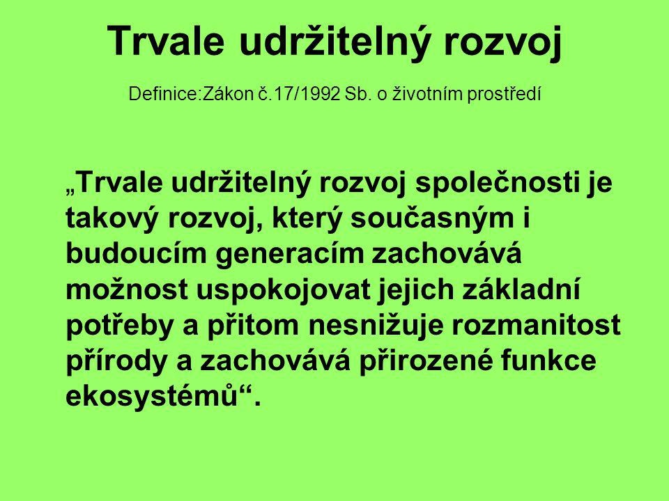 Trvale udržitelný rozvoj Definice:Zákon č. 17/1992 Sb