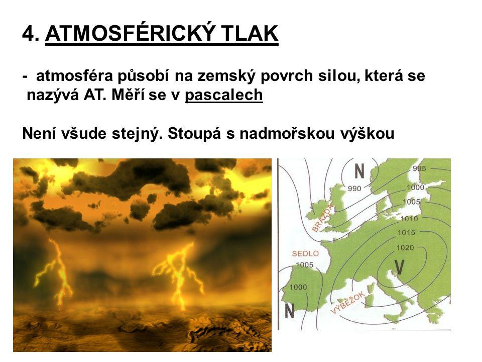 4. ATMOSFÉRICKÝ TLAK - atmosféra působí na zemský povrch silou, která se. nazývá AT. Měří se v pascalech.