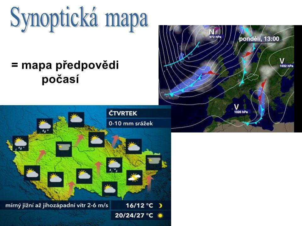 Synoptická mapa = mapa předpovědi počasí