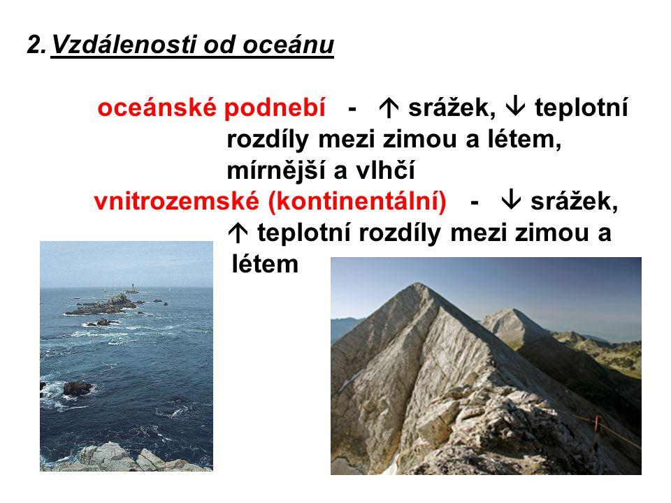 Vzdálenosti od oceánu oceánské podnebí -  srážek,  teplotní rozdíly mezi zimou a létem, mírnější a vlhčí.
