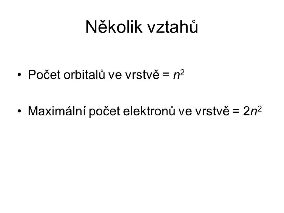Několik vztahů Počet orbitalů ve vrstvě = n2
