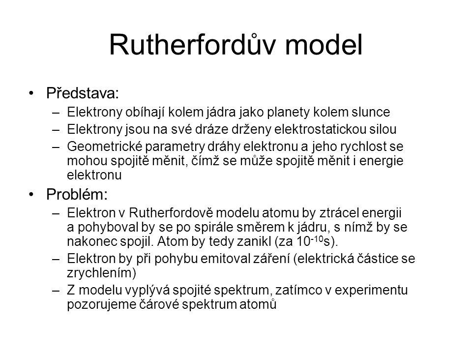 Rutherfordův model Představa: Problém: