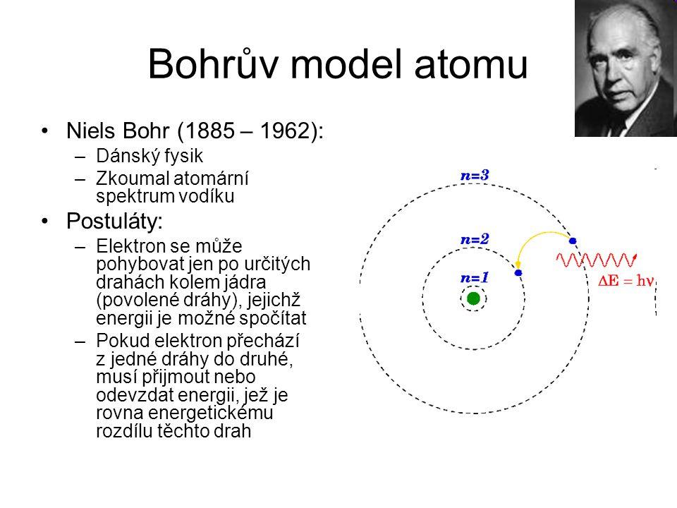 Bohrův model atomu Niels Bohr (1885 – 1962): Postuláty: Dánský fysik
