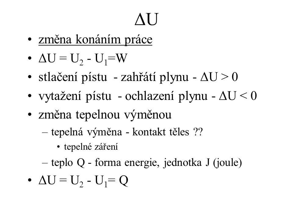 ΔU změna konáním práce ΔU = U2 - U1=W