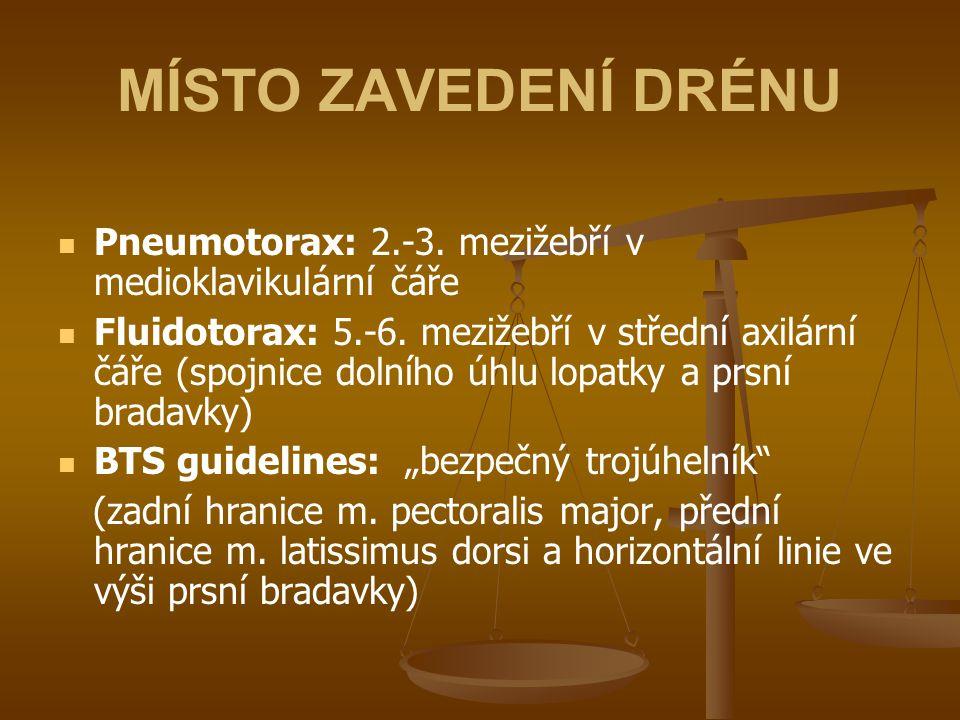 MÍSTO ZAVEDENÍ DRÉNU Pneumotorax: 2.-3. mezižebří v medioklavikulární čáře.
