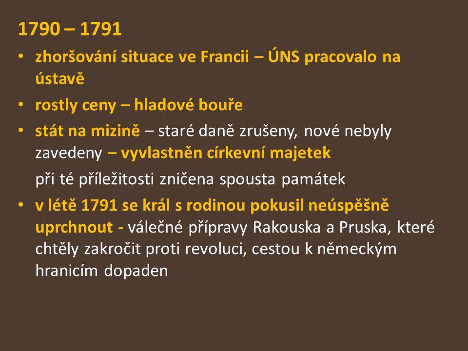 1790 – 1791 zhoršování situace ve Francii – ÚNS pracovalo na ústavě