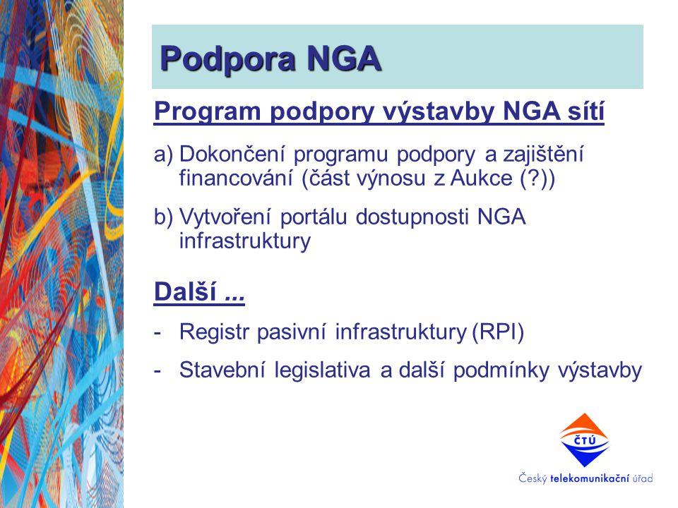 Podpora NGA Program podpory výstavby NGA sítí Další ...