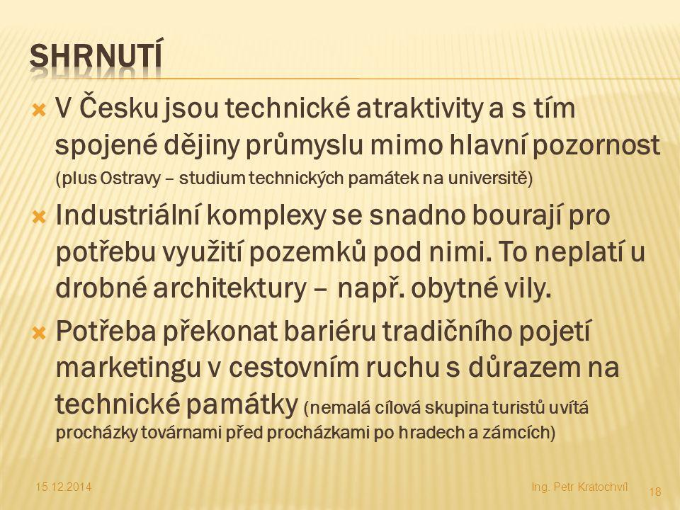 Shrnutí V Česku jsou technické atraktivity a s tím spojené dějiny průmyslu mimo hlavní pozornost.