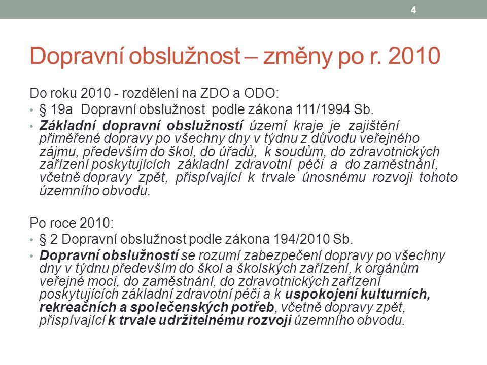 Dopravní obslužnost – změny po r. 2010